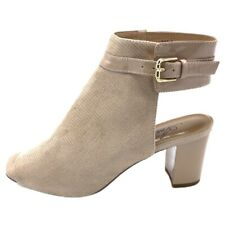 Azura Womens Voljeti Sandals Beige Buckle Block Heels Peep Toe 8.5 EUR 39