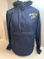 Mens Champion 1/2 Zip US Naval Academy Hooded Waterproof Jacket Size Medium,Blue
