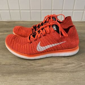 Nike Free RN Flyknit Orange Bright Crimson Mens Running Shoes 831069-601 SZ 10.5