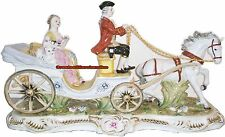 Sorelle Porcelain Lady & Dog in Carriage With Driver & Horse Porcelain Figurines