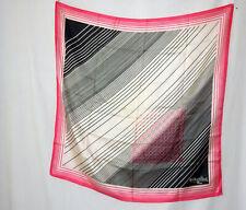 """Vintage 1960 Madeleine De Rauch Paris Scarf Pink Black White Mod Geom 31"""" x 30"""""""