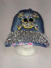 Denim Magid Hat Blue Jean Rhinestones Skull Crossbones Baseball Cap