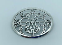 Gorgeous Vintage Sterling Silver Art Nouveau Style Foliage Oval Statement Brooch