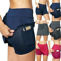 Womens Ladies High Waist Stretch Yoga Shorts Sport Fitness Gym Pocket Sweatpants