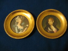 ITALIAN FLORENTINE ANTIQUED PICTURE  WITH GILT FRAMES SET OF 2