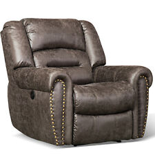Bonded Leather Electric Power Recliner Chair w/Nails Decor Thick Back Sofa w/USB