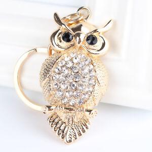 Cute Gold Owl Bird Animal Pet Clear Crystal CZ Love Keyring Chain Handbag Charm