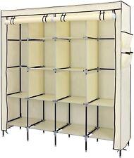 "66-1/4"" x 71.5"" Beige Fabric Adjustable Wardrobe Armoire Clothes Storage Rack"