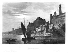 Marienburg, Malbork, Polen,Ansicht vom Fluss aus, Original.-Stahlstich ca. 1850
