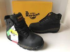 DM's Dr. Martens Thorpe Industrial Greasy Steel Toe Black Leather Sz UK5 Bnib
