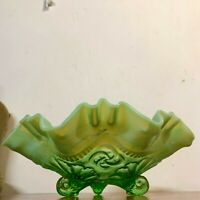 Antique Jefferson Glass Opalescent Green Ruffles and Rings Three Toe Bowl