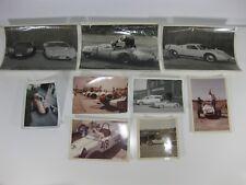 Vintage Car Photo Lot Racing Cars 9 Photos