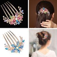 Elegant Women Rhinestone Inlaid Flower Hair Comb Hairpin Headwear Accessory