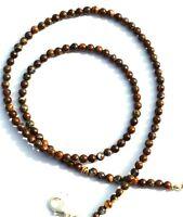"""Natural Gem Australian Boulder Opal Flashy Fire 4MM Round Beads Necklace 16.5"""""""