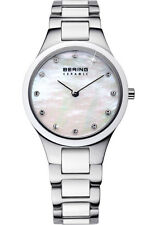 Bering Womens 32327-701 Ceramic White Dial Silver Stainless Steel Band SS Watch