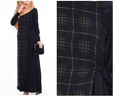 Tartan Checks Plaid Long Sleeve Black DRESS Woman ABAYA KAFTAN Hijab Sz L