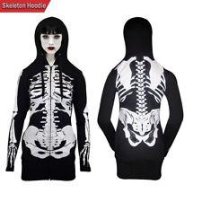 Women Open Face Skeleton Hoodie Sweatshirt Ladies Halloween Costume Long Hoodie