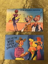 Two 40s/50s Vintage Linen Pin Up Postcards Adult Humor Sexy Comic Postcards