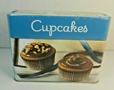 Collectible Tin with Cupcakes Recipe Card Collection 99 Recipes 5 Sections Nip