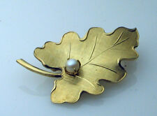 Brooch Pearl Set Mid 20th Century Rolled 12ct 1/20th Gold Filled Vintage Leaf