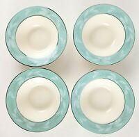 4 Vintage Homer Laughlin Romance Rimmed Fruit Berry Bowls Turquoise Silver  2l