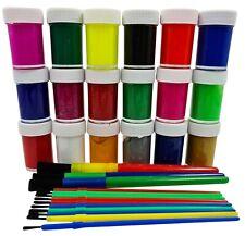 33 Piece Paint Set 18 Poster Paints & 15 Brushes Children's Non Toxic Kids POTS