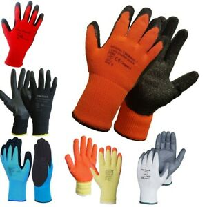 12 Pairs Work Gloves Latex Coated Nitrile Coated Thermal Gloves Grip Builders