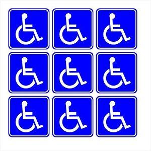 Disabled Wheelchair Symbol BLUE Set of 9 - Handicapped - Window Bumper Sticker