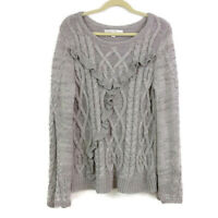 LC Lauren Conrad Womens sz XL Gray Cable Knit Ruffle Front Pullover Sweater