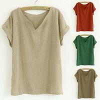 Women Vintage Flax Short Sleeve V Neck Cotton Linen Loose Tunic Shirt Top Blouse