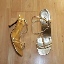 RAVEL metallic gold diamante stilletto party strappy heels sandals shoes 5 38