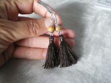 Picture Jasper hook tassel earrings, 7 carats, 0.91 grams of 925 Sterling Silver