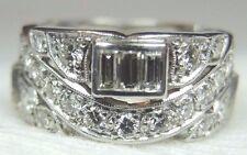 Antique Art Deco Vintage Wedding Band Platinum Ring Size 6.75 UK-N Eternity Fine