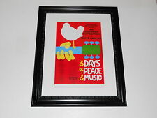 "Large Framed Woodstock 1969 Poster All Bands Listed Hendrix, CSN&Y 24"" by 20"""