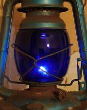 BLUE GLASS GLOBE FOR DIETZ LITTLE WIZARD KEROSENE BARN RAILROAD LANTERN