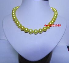 AAA 18 '' 11-12 mm south sea yellow pearl necklace 14k gold clasp