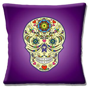 """Vintage Retro Mexican Sugar Skull Day of the Dead purple16"""" Pillow Cushion Cover"""