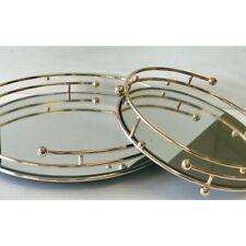 Round Rose Gold Ball Mirror Tray 38cm diameter