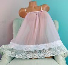 VTG style All Antron chiffon nylon sissy sheer night gown Peignoir MINI Camisole