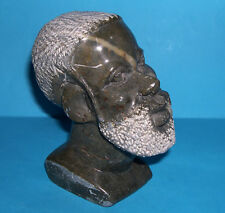 Tribal Art - Good Looking Carved Granite Bust Of A Man.