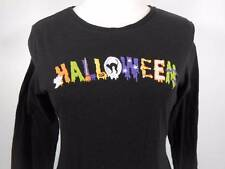 Cool Women's Small Embroidered Halloween Black Long Sleeve Shirt GUC