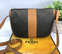 Fendi Authentic Vintage 90s FF Logo Penguin Stripe Crossbody Bag Brown Leather