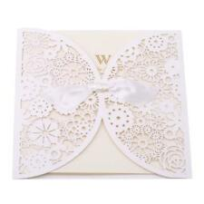 25pcs Elegante Lace Hollow Laser Cut Wedding Invitations Pocket Card Envelope W