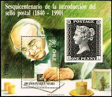 CHILE, 150th ANNIV. BLACK PENNY, SOUVENIR SHEET, MNH, YEAR 1990, BLOCK N° 50.-