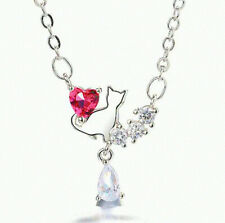 Red Crystal Heart Cat Pendant Necklace 925 Sterling Silver Chain Women Jewellery