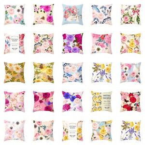 """18"""" Pillow Case Covers Sofa Couch Cushion Cover Home Decor Gifts Flower Printed"""