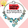 Authentic Pandora Bracelet Silver Blue LOVE Heart Charm with European Charms