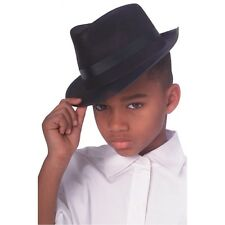 Child Size Black Fedora Fabric DELUXE QUALITY Costume Hat Cap Gangster Kids Boys