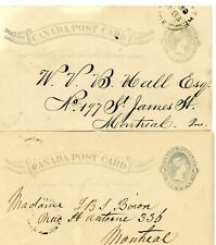 "2 MONTREAL POSTAL CARDS (1883) WITH CARRIER MARKS ""W"" AND ""I"""