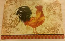 RARE Set of 4 Kitchen Vinyl NON CLEAR Placemats, ROOSTER with checkboard bottom